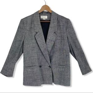 Christian Dior Blazer Jacket Gray V Neck Vintage